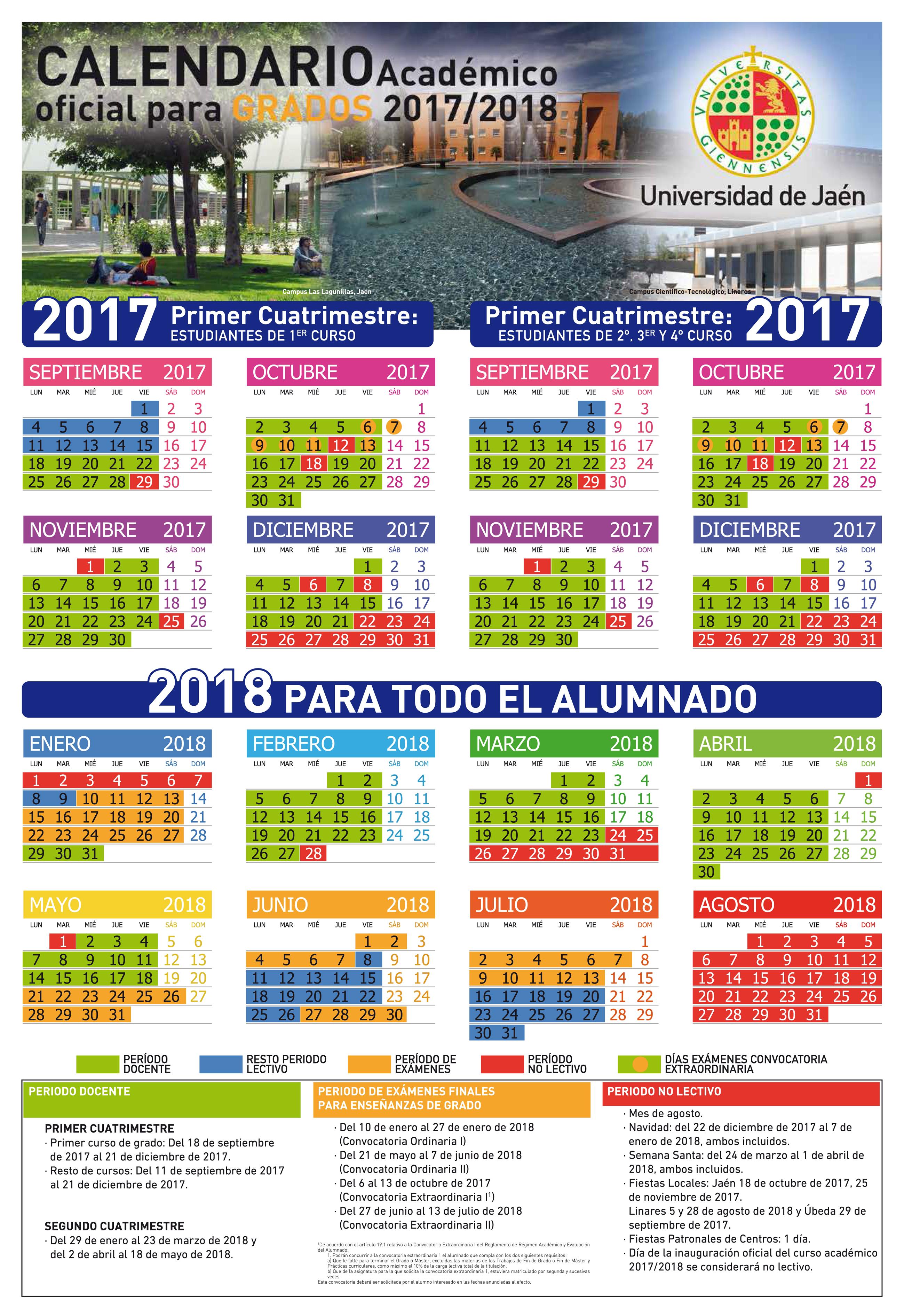 Calendario Ujaen.Calendario Academico De Grados 2017 2018 Vicerrectorado De