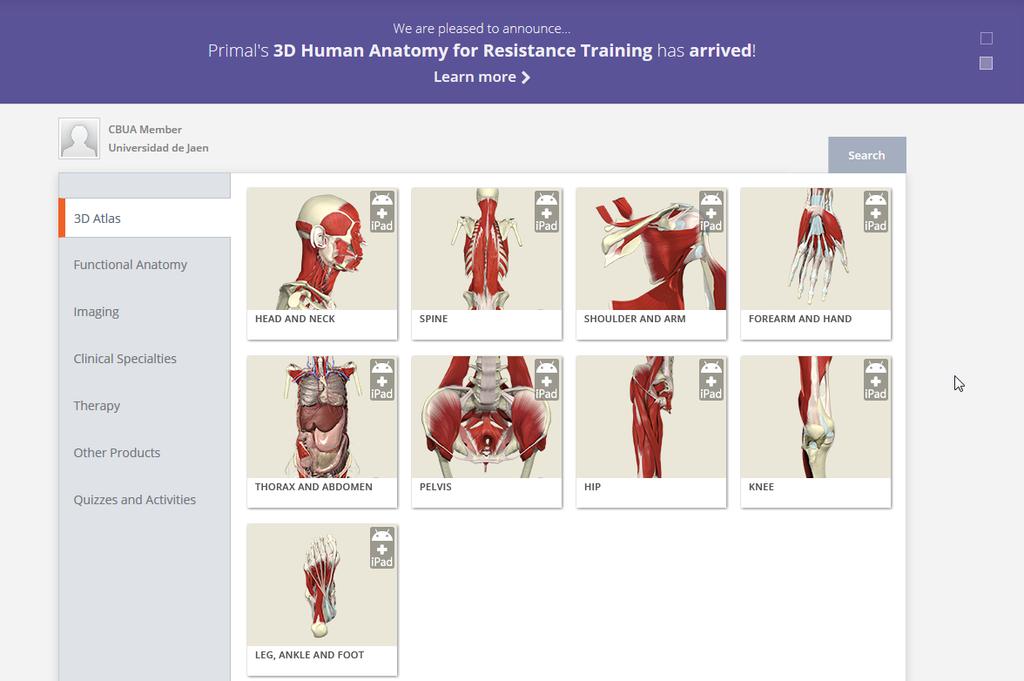 Primal Pictures ahora incluye Anatomy PALMs | Servicio de Biblioteca