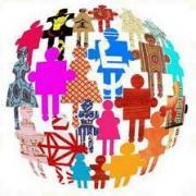 simbolos de personas diversas formando la bola del mundo