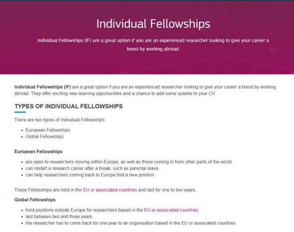 Types of Individual Fellowships